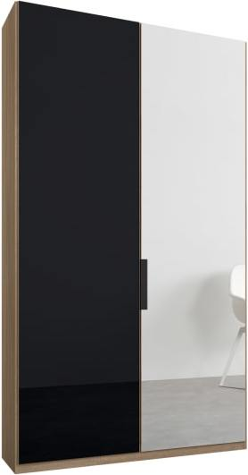 An Image of Caren 2 door 100cm Hinged Wardrobe, Oak Frame, Basalt Grey Glass & Mirror Doors, Standard Interior