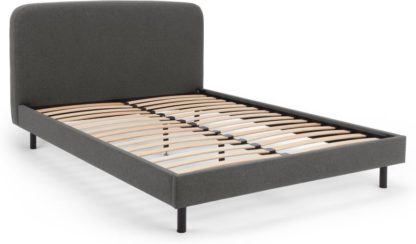 An Image of MADE Essentials Besley Double Bed, Marl Grey