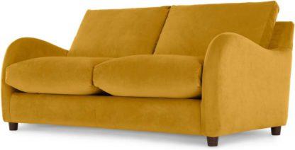 An Image of Sofia 2 Seater Sofabed, Plush Tumeric Velvet