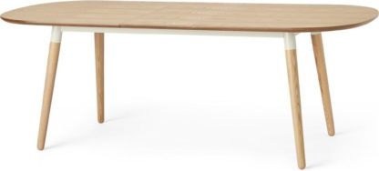 An Image of Edelweiss 6-8 Seat Oval Extending Dining Table, Ash and White