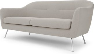 An Image of Reece 3 Seater Sofa, Mina Flint Grey with Metal Legs