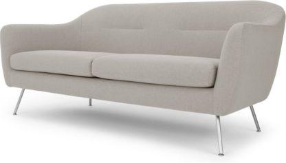 An Image of Reece 3 Seater Sofa, Mina Flint Grey with Metal Legs