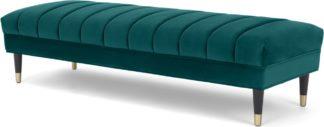 An Image of Evadine Ottoman Bench, Seafoam Blue Velvet
