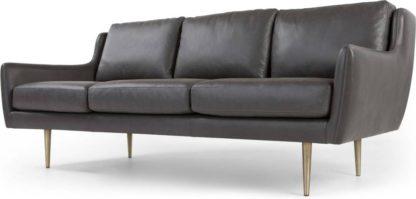An Image of Simone 3 Seater Sofa, Oxford Grey Premium Leather