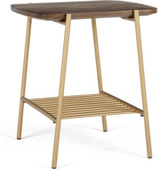 An Image of Bortolin Side Table, Mango Wood and Brass