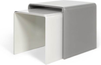 An Image of Phane Set of 2 Nesting Tables, White and Grey Glass