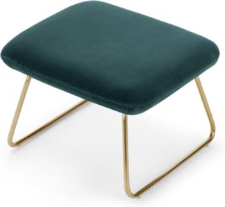 An Image of Frame Footstool, Petrol Cotton Velvet with Bright Gold Frame