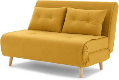 An Image of Haru Small Sofa bed, Butter Yellow