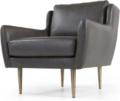 An Image of Simone Armchair, Oxford Grey Premium Leather