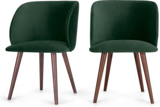 An Image of Set of 2 Adeline Carver Dining Chairs, Pine Green Velvet and Walnut