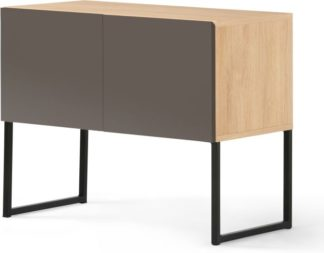 An Image of MADE Essentials Hopkins Sideboard, Oak Effect & Grey