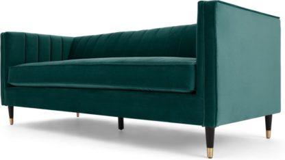 An Image of Evadine 3 Seater Sofa, Seafoam Blue Velvet