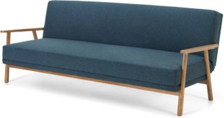 An Image of Lars Click Clack Sofa Bed, Orleans Blue and Oak Frame