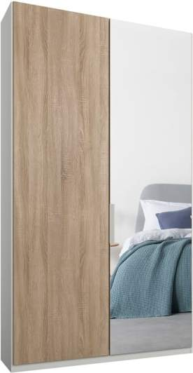 An Image of Caren 2 door 100cm Hinged Wardrobe, White Frame, Oak & Mirror Doors, Classic Interior