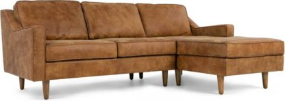 An Image of Dallas Right Hand Facing Chaise End Corner Sofa, Outback Tan Premium Leather