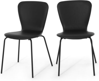 An Image of Set of 2 Luno Dining Chairs, Black PU