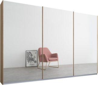 An Image of Malix 3 door 270cm Sliding Wardrobe, Oak frame,Mirror doors, Standard Interior