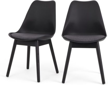 An Image of Set of 2 Thelma dining chairs, Black and grey fabric