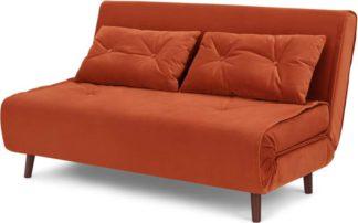 An Image of Haru Large Double Sofa Bed, Velvet Flame Orange