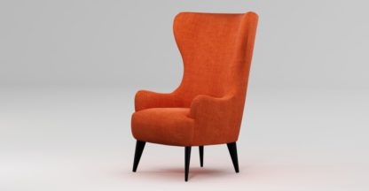 An Image of Custom MADE Bodil Accent Chair, Rust Orange with Black Wood Leg