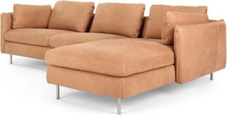 An Image of Vento 3 Seater Right Hand Facing Chaise End Corner Sofa, Tan Leather