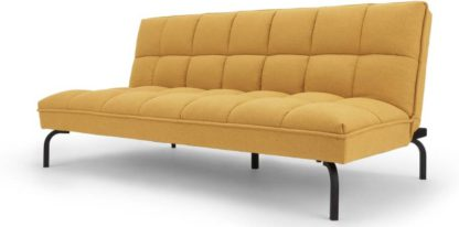 An Image of Hallie Sofa Bed, Yolk Yellow with Black Legs
