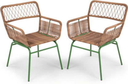 An Image of Lyra Garden Dining Chair Set, Green