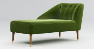 An Image of Custom MADE Margot Left Hand Facing Chaise, Spruce Green Cotton Velvet with Light Wood Brass Leg