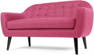 An Image of Ritchie 2 Seater Sofa, Candy Pink with Rainbow Buttons