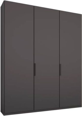 An Image of Caren 3 door 150cm Hinged Wardrobe, Graphite Grey Frame, Matt Graphite Grey Doors, Classic Interior