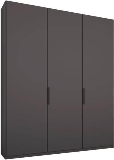 An Image of Caren 3 door 150cm Hinged Wardrobe, Graphite Grey Frame, Matt Graphite Grey Doors, Classic Interior