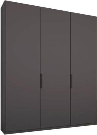 An Image of Caren 3 door 150cm Hinged Wardrobe, Graphite Grey Frame, Matt Graphite Grey Doors, Standard Interior
