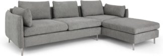 An Image of Vento 3 Seater Right Hand Facing Chaise End Corner Sofa, Linear Grey