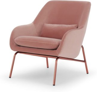 An Image of Henrik Accent Armchair, Vintage Pink Velvet and Copper