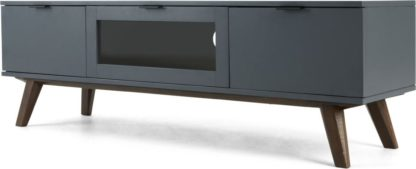 An Image of Averio TV Stand, Dark Stain Oak and Grey