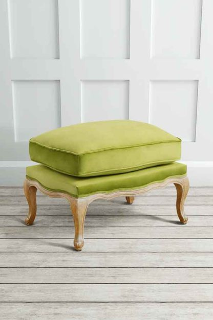 An Image of Le Notre French Vintage Style Shabby Chic Oak Stool Lime