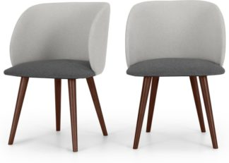 An Image of Set of 2 Adeline Carver Dining Chairs, Marl, Hail Grey and Walnut