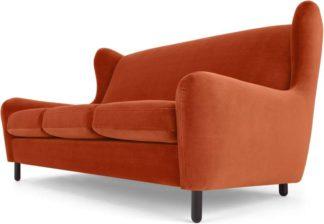 An Image of Rubens 3 Seater Sofa, Flame Orange Velvet