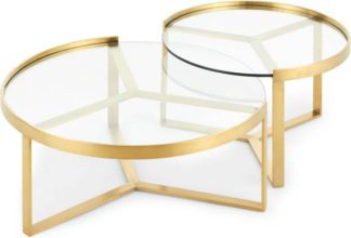 An Image of Aula Nesting Coffee Table, Brushed Brass and Glass