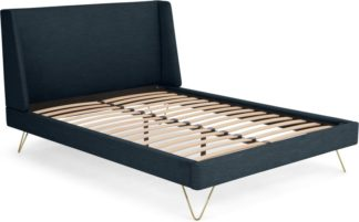 An Image of Elona Double Bed, Denim Blue Weave and Brass Legs