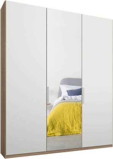 An Image of Caren 3 door 150cm Hinged Wardrobe, Oak Frame, Matt White & Mirror Doors, Classic Interior