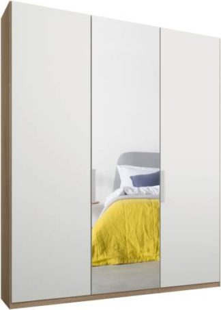 An Image of Caren 3 door 150cm Hinged Wardrobe, Oak Frame, Matt White & Mirror Doors, Standard Interior
