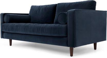 An Image of Scott Large 2 Seater Sofa, Navy Cotton Velvet