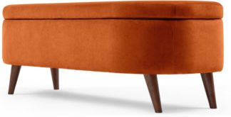 An Image of Lulu Ottoman Bench, Paprika Orange Velvet
