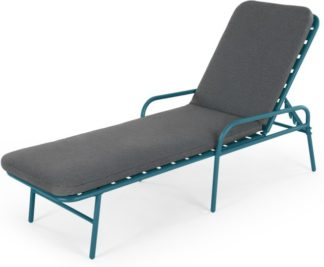 An Image of MADE Essentials Tice Garden Sun Lounger, Teal