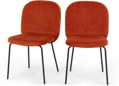 An Image of Set of 2 Safia Dining Chairs, Flame Orange Velvet