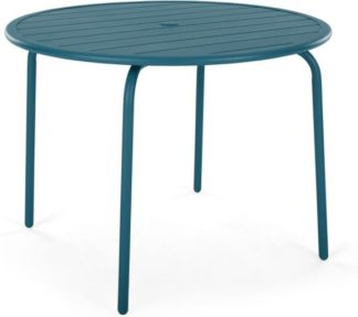 An Image of MADE Essentials Tice Garden 4 Seater Dining Table, Teal
