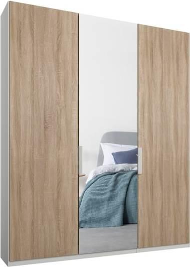 An Image of Caren 3 door 150cm Hinged Wardrobe, White Frame, Oak & Mirror Doors, Classic Interior