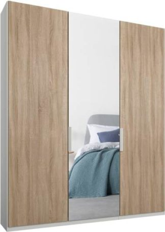An Image of Caren 3 door 150cm Hinged Wardrobe, White Frame, Oak & Mirror Doors, Standard Interior