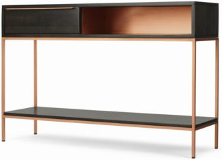 An Image of Anderson Console Table, Mocha Mango Wood and Copper